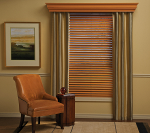 Drapery with Parkland Wood Blinds