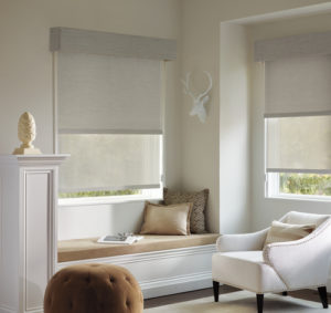 Designer Roller Shades in the Bedroom